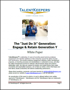 TalentKeepers The Just Do It Gen Y Whitepaper
